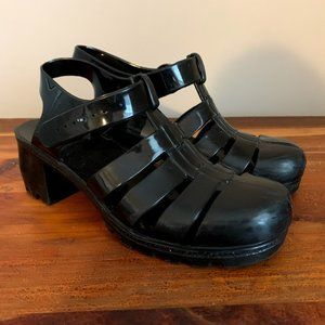 Vintage 90s Black Rubber Mary Jane Jelly Shoes